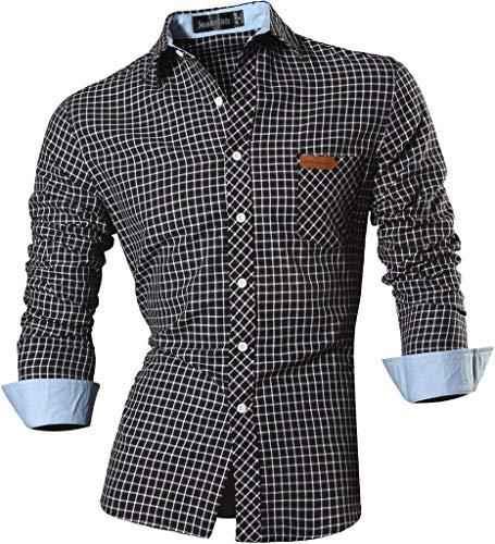 jeansian Uomo Camicie Casual Classiche Manica Lunga Slim Fit Men Shirts 8615 Black XL