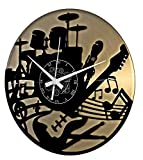 Instant Karma Clocks Instant Karma Reloj de Vinilo Doble de Pared, Idea Regalo Handmade-Casa Guitarra Música Teclado Batería (Oro), Vintage, Silencioso