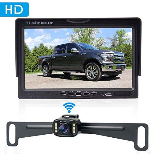 Amtifo Wireless Bakcup Camera System with 7'' Monitor for Cars,SUVs,MiniVans,HD 720P Adjustable Rear View/Front View Camera Super Night Vision,IP69 Waterproof