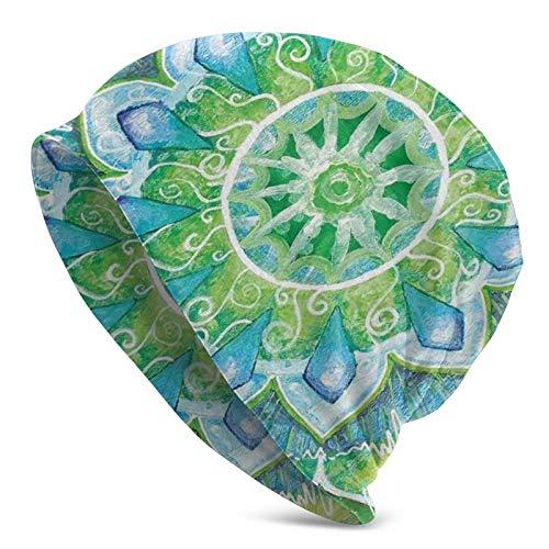 AEMAPE Gran Mandala con Formas de Hojas Símbolo de la Naturaleza y el Tema Zen Gorro con Estampado de Estilo Bohemio Verde Gorro de Punto Gorro de Calavera Pullover Cap