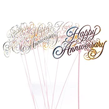 Factory Direct Craft Group of 12 Floral Embellishing Acrylic Happy Anniversary Script Picks for Inserting in Real and Artificial Floral Arrangements