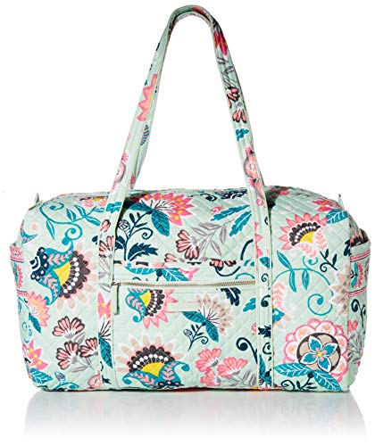 Vera Bradley Women's Signature Cotton Large Travel Duffel Travel Bag, Mint Flowers, One Size