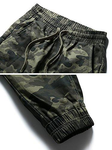 OCHENTA Men's Slim Fit Chino Jogger Cargo Pant #1235 Dark camo 32