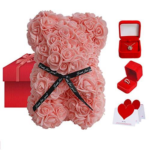 Oso De Flor Rosa + Collar + Anillo De Plata De Ley - Oso De Peluche Completamente Ensamblado - Flores Artificiales - Regalo Para El Día De La Madre, Día De San Valentín, Aniversario Y Kit De Caja De