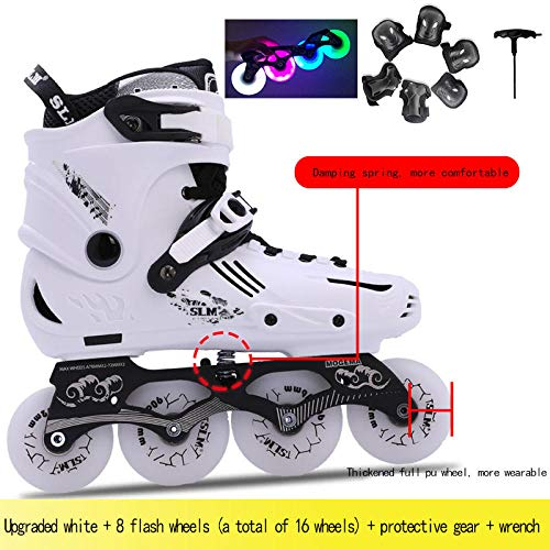 Patines en línea para adultos en línea hombres y mujeres patines para principiantes patines profesionales flor plana LED flash zapatos-36_[Actualización] equipo de protección + 8 ruedas luminosas
