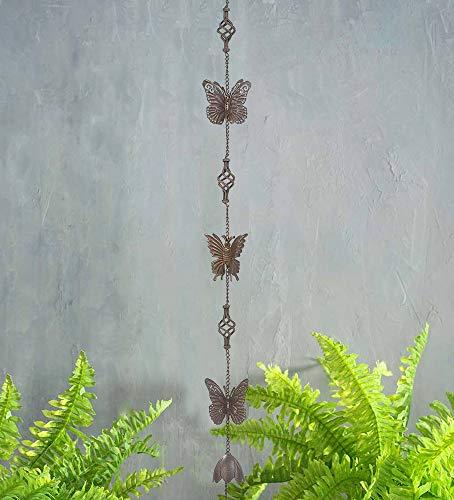 Brogan Metall Schmetterling & Endstück, dekorative Regenkette, mit Glockenklingel, hängendes Display für Außenbereich, Terrasse, Garten, Hof, Ornament oder Heimdekoration (braun)