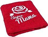 Regalo para mamá en su cumpleaños o en el Día de la Madre; toalla con las inscripciones 'Rose' y 'Super Mama'; una idea para regalo práctica y duradera para tu madre