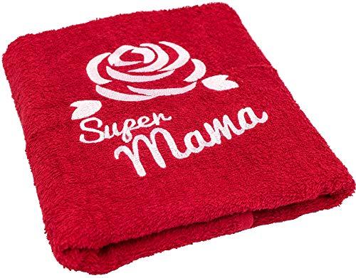 Abc Casa Geschenk zum Geburtstag für Mama oder Muttertag - Handtuch mit gestickter Rose und Super Mama - eine praktische Geschenkidee für Mutter - EIN dauerhaft nützliches Geschenk