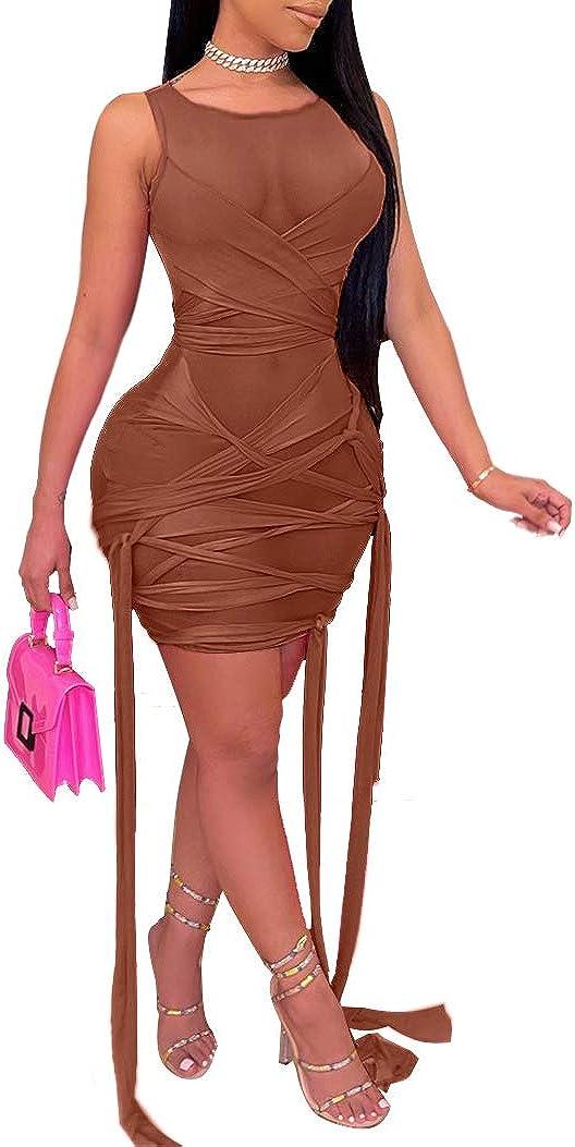 Remelon Womens Sexy See Through Mesh Tank Sleeveless Tie Tassels Bodycon Short Mini Dress Clubwear