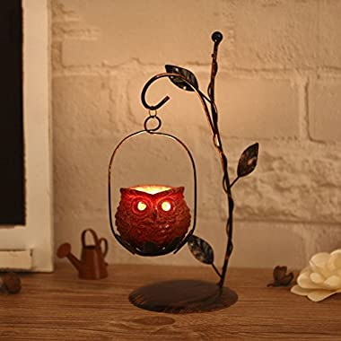 YOURNELO Cute Metal Owl Hanging Lanterns Candeholders for Decoration