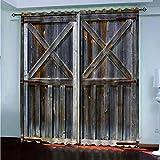 Cortinas Opacas - Impresión 3D Puerta De Madera Clásica Creativa - Cortinas con Ojales - Reducción De Ruido De Aislamiento, 290(H) X140(An) Cmx2 Paneles/Set