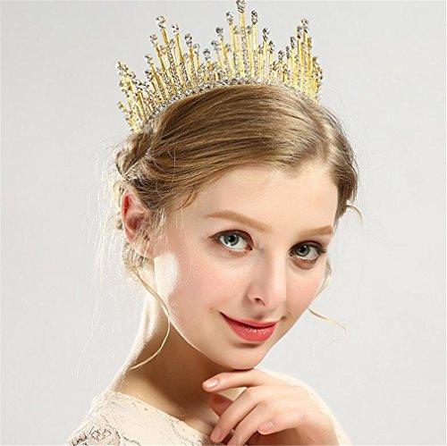 ELEGENCE-Z bruiloftkroon, volledige ronde kristallen kralen, koninklijke kroonsteentjes, bruidssieraden, bruiloften, parades, haardans, hoofddeksel, goud