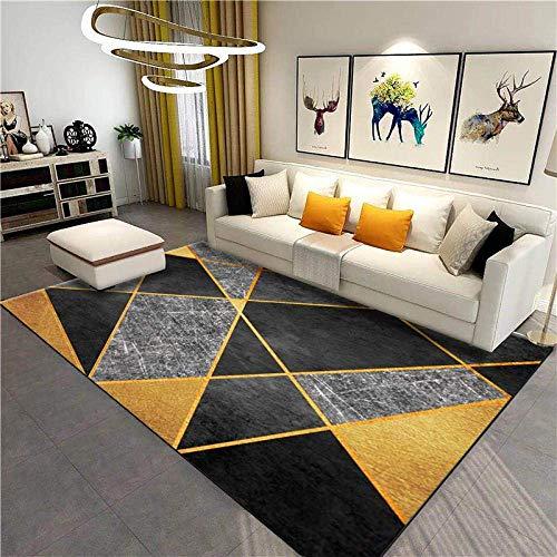 FLOORMATJING Tapis Contemporain Doux Grand Dimensions Salon Tapis GéOméTrique Patchwork Noir Gris Doré Court Pile Facile a Nettoyer Tapis 140x200cm