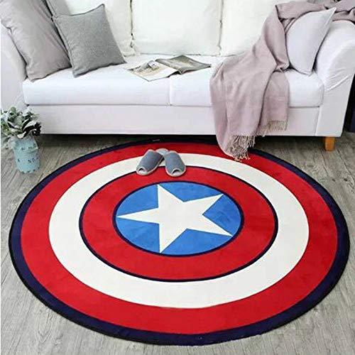 Unbekannt Schlafzimmer Runde Bodenmatte Teppich Wohnzimmer Fünfzackigen Stern Baby Krabbeldecke Multifunktionale Mode Captain America Grau Schild (1 Stücke),Red-160 * 160