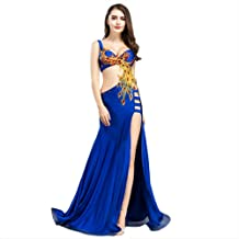 ROYAL SMEELA Belly Dance Costume for Women Belly Dancing Skirt Dancing Dresses Phoenix, Red and Blue, 4 Sizes