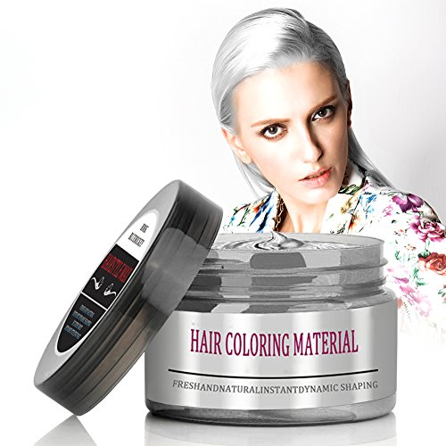 BMK Silver Gray Color Hair Wax Temporary Silver Ash Wax Hairstyle Hair Dye Wax for Party, Cosplay, Nightclub, Masquerad, Halloween (Upgrade Version)