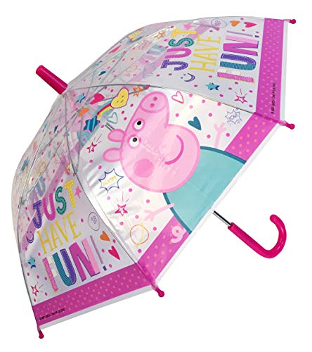 Chanos Chanos Peppa Pig Safety Runner PoE Transparent Folding Umbrella, 38 cm,...