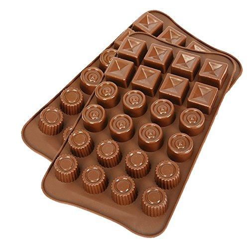 2 opakowania silikonowych foremek do czekolady, CNYMANY nieprzywierające kuchenne patelnie do pieczenia kostki lodu tacki 3 kształty w jednej formie do robienia ciasta cukierkowego gumdrop galaretki muffinek babeczek - czekolada