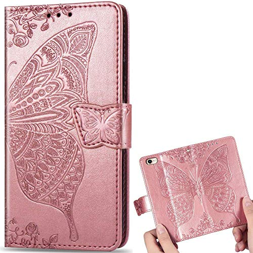 for iPhone 6 Plus/ 6S Plus Case LAPOPNUT Embossed Butterfly Flower Pattern PU Leather Wallet Case Vintage Flip Cover with Card Holder Magnetic Stand Cases for iPhone 6 Plus/ 6S Plus Rose Gold