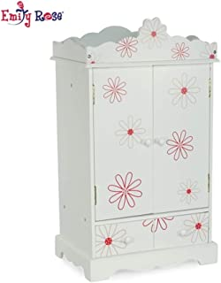 Emily Rose 18 Inch Doll Closet Floral Design | Doll Clothes Storage Furniture Armoire with Hangers | Fits 18