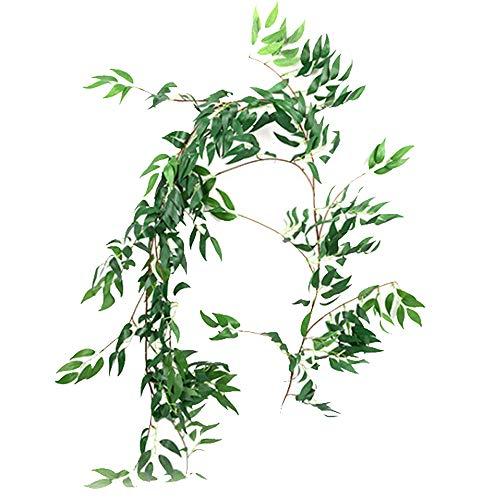 Aisamco 1.7m künstliche hängende Weide verlässt Reben-Zweige Fälschung Seidenweidenpflanze Blätter in grün für Hochzeitsdekor Dschungel Grün Kronen