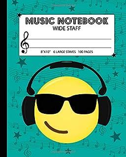 Music Notebook: Wide Staff Manuscript Paper Notebook For Kid