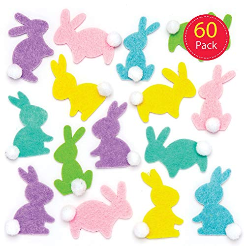 Baker Ross Adesivi Coniglietto in Feltro (Confezione da 60) - Decorazioni Creative pasquali