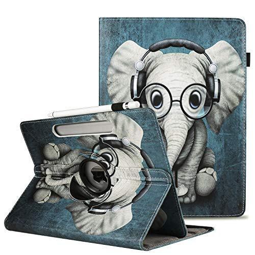 Universal 360°Rotational Tablet Case Stand Folio Case Cover Corner Protection With Pencil Holder Fits All 8' Inch Android Samsung, Lenovo, Acer, Huawei,Toshiba Tablets devices ,Glasses Elephant