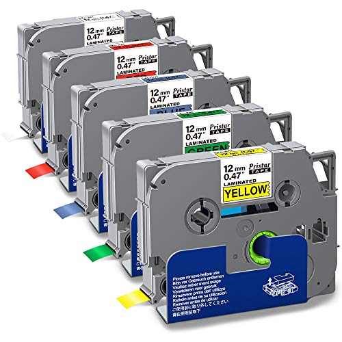 """Pristar Compatible Label Tape Replacement for Tze-231 Tze-431 Tze-531 Tze-631 Tze-731 12mm 0.47"""" Black on White/Red/Blue/Yellow/Green for Brother PTD210 PTH110 PT-D200 PT-D400 PT-D600, 5-Pack"""
