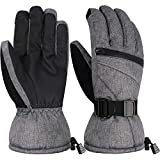 Andake Men's Waterproof Touch Screen Ski Snowboard Snow Gloves, Breathable Warm Windproof with 3M Thinsulate Insulation
