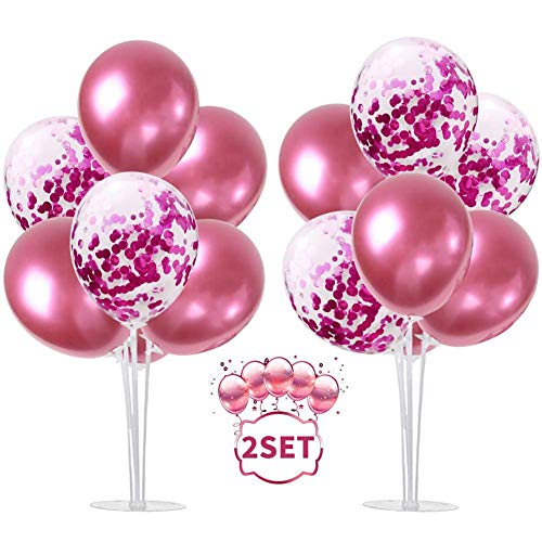Balloon - Soporte de mesa transparente,Globos Claros Soporte Holder con 13 Globos,para globos de fiesta de cumpleaños y decoración de boda (Oro rosa)