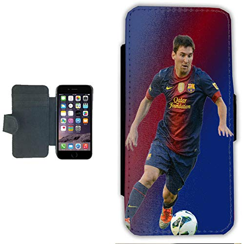 Funda tipo cartera para Apple iPhone 6 y 6s con diseño de jugador de fútbol Messi.