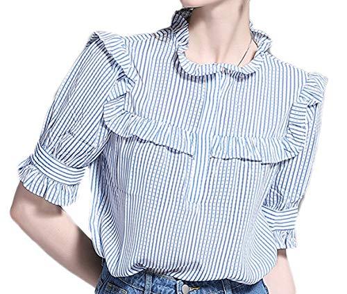 Blusa de Manga de Campana a Rayas para Mujer Camisetas con Volantes Blusa