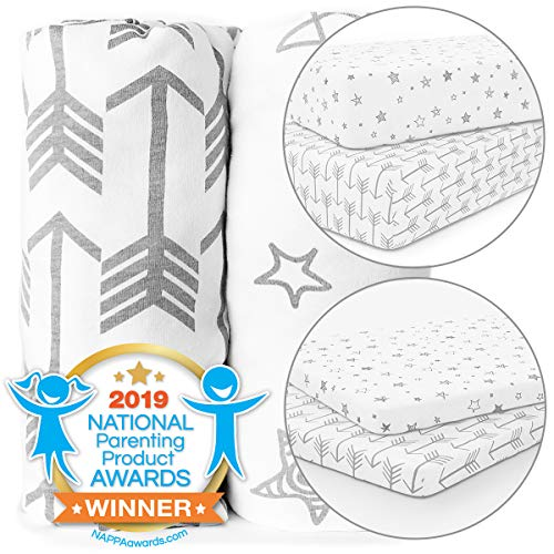 Find Discount Crib and Pack n Play Playard Sheets Bundle - Stretchy, Fitted Jersey Cotton Will Fit A...