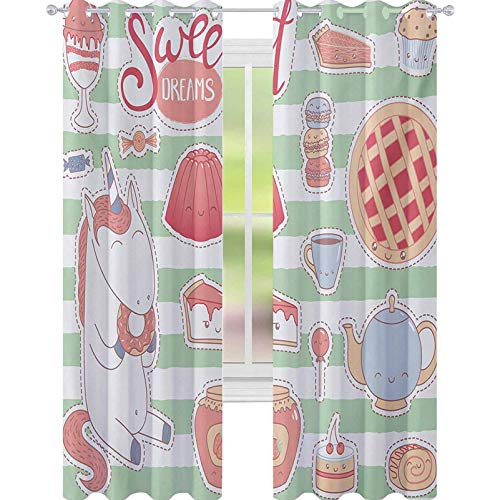 YUAZHOQI Sweet Dreams Drape for French Door Various Desserts in Cartoon Style Funny on Green Stripes Unicorn Eating Donut 52' x 95' Blackout Curtains for Kids Bedroom Multicolor