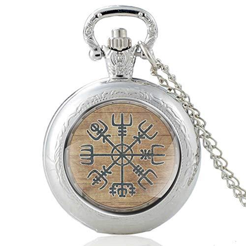 Vintage BronceVikingo símbolo Cuarzo Cristal cúpula Reloj de Bolsillo Mujeres Hombres Collar Colgante Reloj Cadenajoyería Regalo Plata