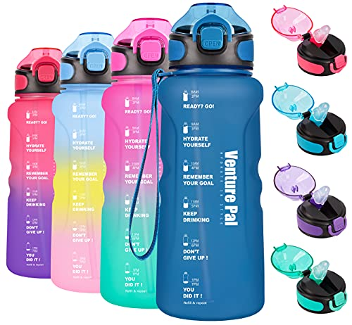 Venture Pal 32oz Motivational Water Bottle with Time Marker & Straw, Leakproof BPA Free Water Jug to Ensure You Drink Enough Water Throughout The Day for Outdoor Enthusiasts-Frosted Navy