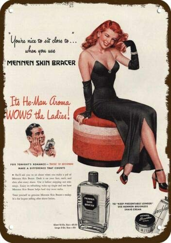 Laptopo 1946 MENNEN Skin Bracer Vintage Look Replica Metal Sign Sexy Redhead Women Pinup