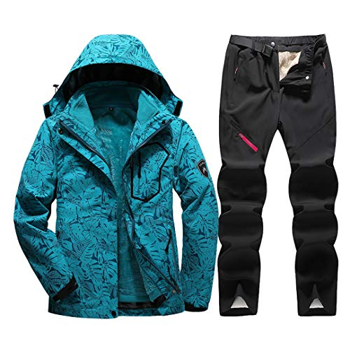 Jackenstr Tuta da Sci da Donna Impermeabile Antivento Sci Snowboard Abbigliamento da Neve Tute Giacca Pantaloni Set Moon Blue Set M