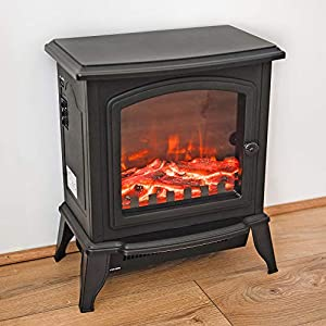 Fineway. Electric Stove Heater with Log Burner Flame Effect Fire – 2000W, Black – Freestanding Fireplace with Wood Burning LED Light – Adjustable Temperature 2 Heat Settings & Flame With Large Window