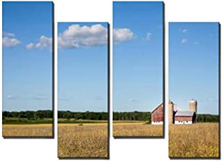 4 Panel Canvas Pictures Family Farm Scene with Copy Space Home Decor Gifts Canvas Wall Art for your Living Room