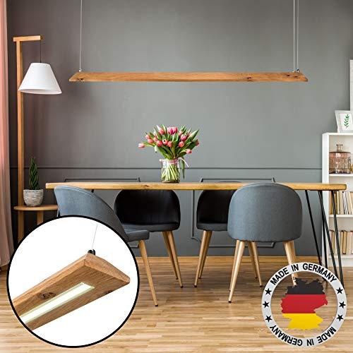 LED Designer Lampe | Hängelampe aus Eiche Massivholz | 2.000 Lumen Warmweiß (40W) | Stufenlos Dimmbar mit Wandschalter und Fernbedienung | Pendel-Leuchte Echt Holz (Wildeiche, 100 cm)