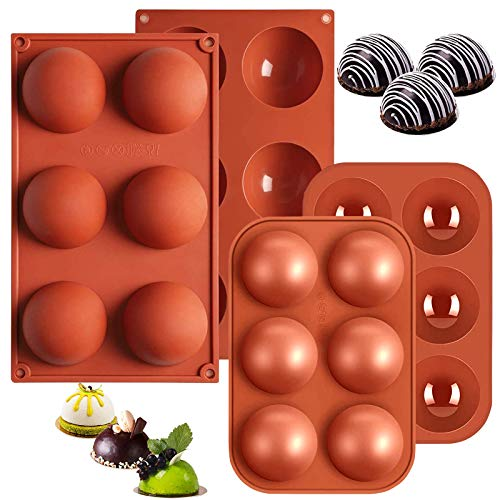 Suplid Silicone Mold 6 Holes Semi Sphere Silicone Mold Large and Medium Chocolate Molds 4 Packs...