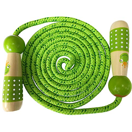 Jump Rope Kids, Children Adjustable Cotton Skipping Rope with Wooden Handle for Boys and Girls Fitness Training/Exercise/Outdoor Activity Fun Toy(7.2ft)