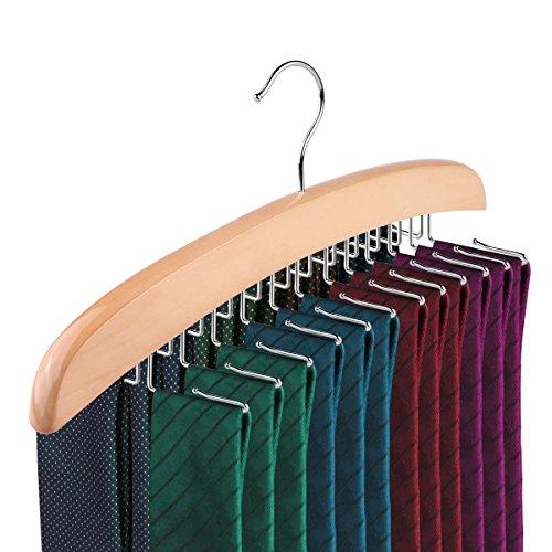 ALLOMN Tie Rack, 24-Hook Natural Wooden Tie Hanger Organizer Accessory Rack for Closet