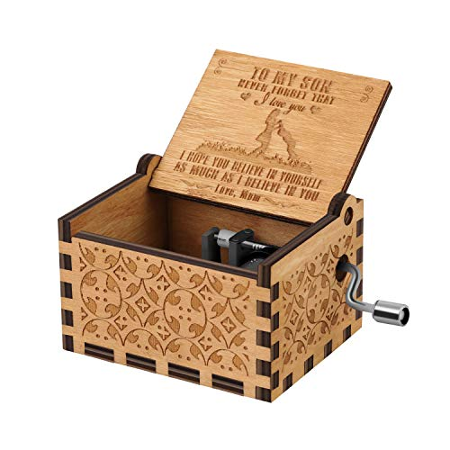 You are My Sunshine Wood Music Boxes,Laser Engraved Vintage Wooden Sunshine Musical Box Gifts for Birthday/Christmas/Valentine's Day (Wood-Mom to Sun)