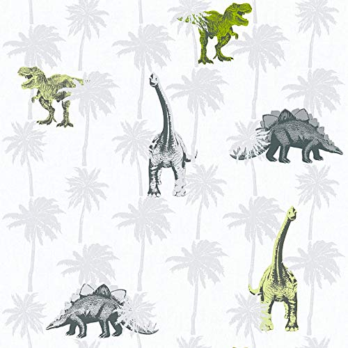 Vliesbehang Dino behang dinosaurus Kinderbehang Grijs Groen Wit 358352 35835-2 A.S. Création Little Stars   Grijs/Groen/Wit   Rol (10,05 x 0,53 m) = 5,33 m²