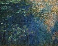 フレームレスデジタルペインティングクロードモネ-Water_Lily_Pond、_Reflections_of_Clouds with Brushes and Acrylic Pigment DIY Canvas Painting for Adults Beginner Still Life