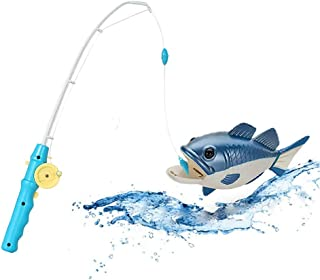Fishing Game Toy for Kids and Toddlers with Realistic Swimming Fish, Best Bathtub Floating Blue Fish with Easy to Turn Rod, Safe and Fun Bathtime Pool Activity, Cool Unique Gift Idea for Children