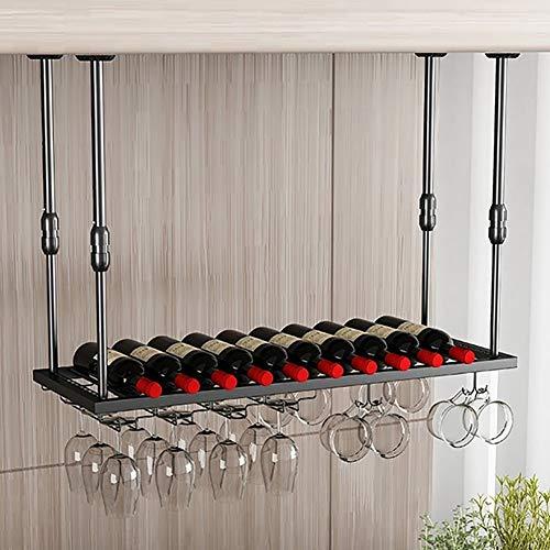 QXSLLONS Estante colgante para copas de vino para decoración de botellas de vino, estante para barras, cocina, color negro, tamaño: 100 x 30 cm
